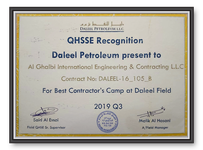 QHSSE Recognition for Best Contractor's Camp at Daleel Field - Q3 2019